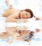 Happy massage on white sand Royalty Free Stock Image