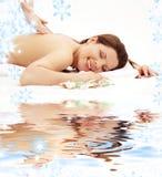 Happy massage on white sand Royalty Free Stock Image
