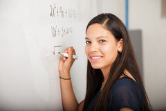 Happy math student in class Royalty Free Stock Images