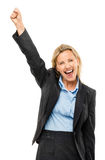 Happy mature business woman arms up isolated on white background Royalty Free Stock Photo
