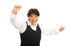 Happy mature business woman cheering Royalty Free Stock Photos