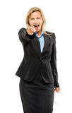 Happy mature business woman isolated on white background Stock Photo