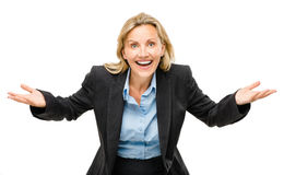 Happy mature business woman isolated on white background Royalty Free Stock Photography