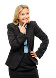 Happy mature business woman isolated on white background Stock Image