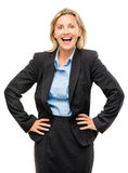 Happy mature business woman isolated on white background Royalty Free Stock Photo
