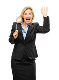 Happy mature business woman isolated on white background Royalty Free Stock Images