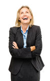 Happy mature business woman laughing isolated on white background royalty free stock images