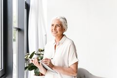 Happy mature business woman taking notes stock photos