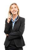 Happy mature business woman thinking isolated on white background stock photography