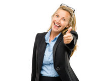 Happy mature business woman thumbs up isolated on white backgrou Royalty Free Stock Photos