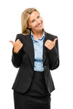 Happy mature business woman thumbs up isolated on white backgrou Royalty Free Stock Images