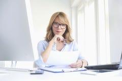 Happy mature businesswoman using laptop stock image