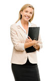 Happy mature businsswoman holding clipboard isolated on white ba Royalty Free Stock Photography