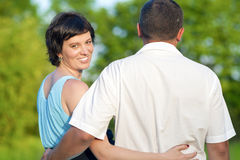 Happy Mature Caucasian Couple Having a Walk Together Outdoors. Embraced Together.Horizontal Image Stock Photos