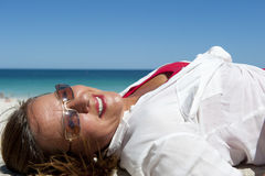 Happy Mature and Confident Woman at Ocean Royalty Free Stock Image