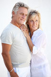 Happy mature couple. Smiling over white background royalty free stock images