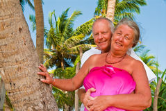 Happy mature couple caressing. Happy mature couple smiling, hugging in the shade of palm trees on the beach. In the background is the blue sky with palms Royalty Free Stock Photography