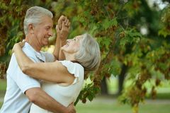Happy Mature couple. Dancing in the park in summer day Stock Photos