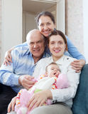 Happy mature couple with daughter and granddaughter Royalty Free Stock Image