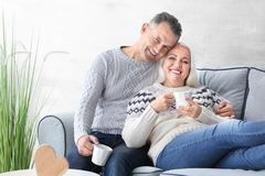 Happy mature couple drinking tea. At home Stock Images