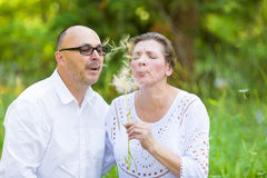 Happy mature couple enjoying weekend day in a park Royalty Free Stock Photos