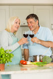 Happy mature couple having red wine while making dinner Royalty Free Stock Image