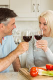 Happy mature couple having red wine while making dinner Royalty Free Stock Photography