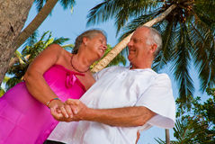 Happy mature couple holding hands. Happy mature couple smiling, holding hands in the shade of palm trees on the beach. They are looking at each other and in the Stock Photos