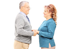 Happy mature couple holding hands and looking each other Stock Image