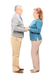 Happy mature couple holding hands and looking each other Royalty Free Stock Images