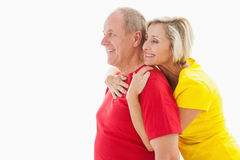 Happy mature couple hugging and smiling Royalty Free Stock Image