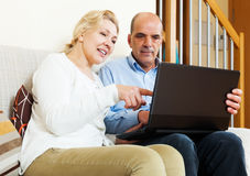 Happy mature couple with laptop Stock Images
