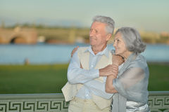 Happy mature couple looking at town Royalty Free Stock Photos