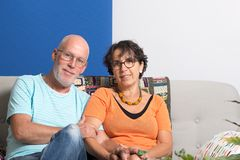 Happy mature couple in love, in their home Stock Images