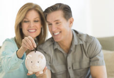 Happy Mature Couple With Piggybank At Home Royalty Free Stock Images