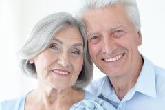 Happy mature couple. Portrait of happy senior couple isolated on white background Stock Photo