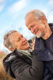 Happy mature couple relaxing baltic sea dunes Royalty Free Stock Images