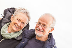 Happy mature couple relaxing baltic sea dunes Royalty Free Stock Image