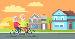 Happy Mature Couple Riding Together on Bike. On background of rural cottages vector illustration. Husband and wife on retirement in countryside Stock Images
