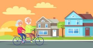 Happy Mature Couple Riding Together on Bike stock illustration