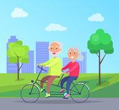 Happy Mature Couple Riding Together on Bike. On background of skyscrapers in city park vector illustration. Husband and wife on retirement Royalty Free Stock Images