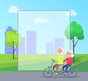 Happy Mature Couple Riding Together on Bike. On background of skyscrapers in city park vector with frame for text. Husband and wife on retirement Stock Images