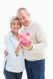 Happy mature couple smiling at camera showing piggy bank Stock Photography