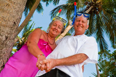 Happy mature couple with snorkeling gear. Happy mature couple smiling in the shade of palm trees on the beach. They are wearing snorkeling gear, holding hands Royalty Free Stock Images