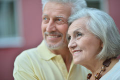 Happy  Mature couple in town. Portrait of happy  Mature couple in town Stock Photos