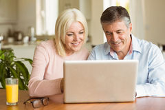 Happy mature couple using laptop Royalty Free Stock Photos