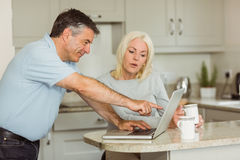 Happy mature couple using laptop Royalty Free Stock Photography