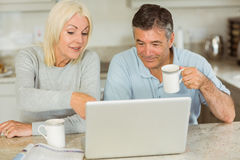Happy mature couple using laptop Stock Images