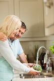 Happy mature couple washing broccoli Stock Images