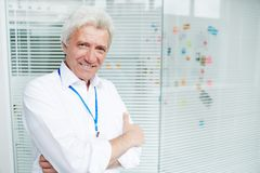 Detective specialist. Happy mature detective in white shirt looking at camera in office royalty free stock photography